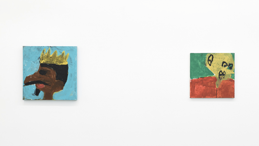 Installation photo of two untitled portrait paintings by NIAD studio artist Billy White