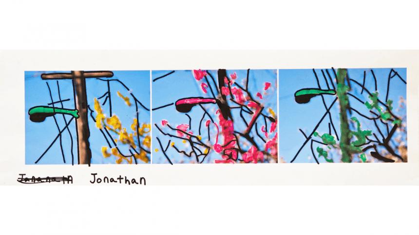 """Untitled (D4488) Jonathan Velasquez. marker on digital print 24 x 8"""" unique 2015"""