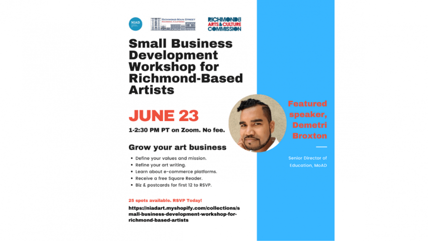 Poster for Small Business Development Workshop for Richmond-Based Artists