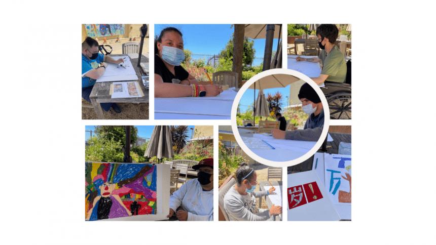 NIAD artists in our courtyard working on sketches for SFMOMA's Mini Mural Festival. Top row: Luis Estrada, Esmeralda Silva, Miguel Chacon. Circle: Jonathan Valdivias. Bottom row: Julio Del Rio, Deatra Colbert, Christian Vassell's sketches.