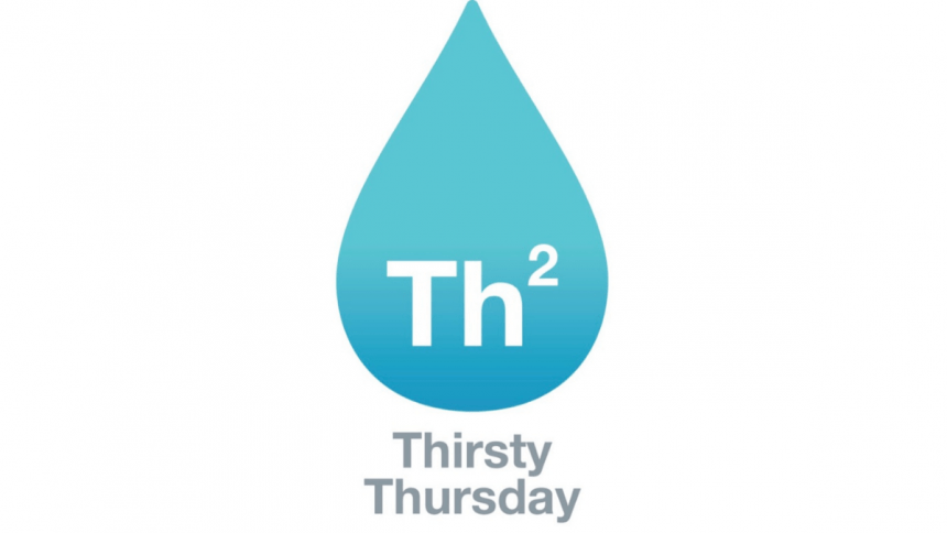 """Thirsty Thursday Logo - a blue drop of water with """"Th2"""" superimposed at the bottom and """"Thirsty Thursday"""" underneath"""