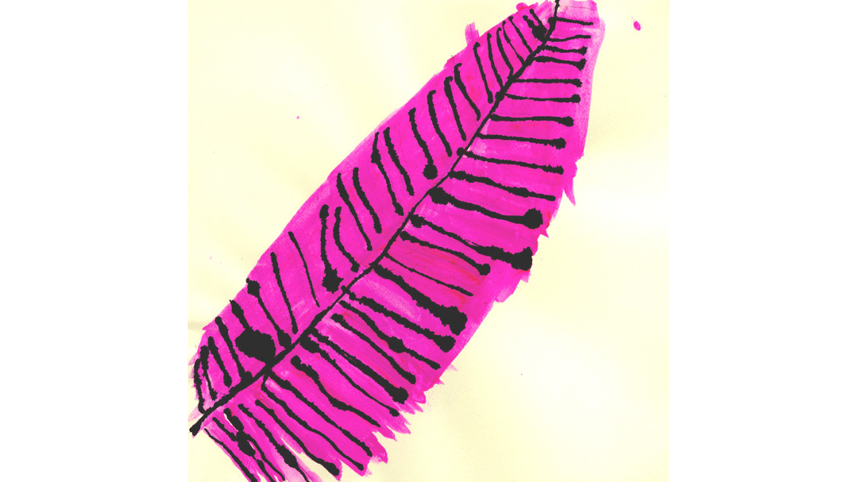 Untitled (D0653) mixed media on paper by NIAD studio artist Erica Martinez. image description: a bright magenta feather shape with black ink details on a light yellow background.