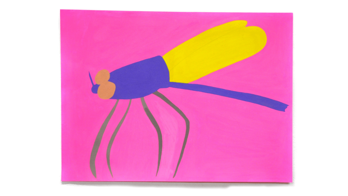 an acrylic painting on paper of an insect, with four olive green legs, yellow wings, a purple thorax and orange eyes on a bright pink background