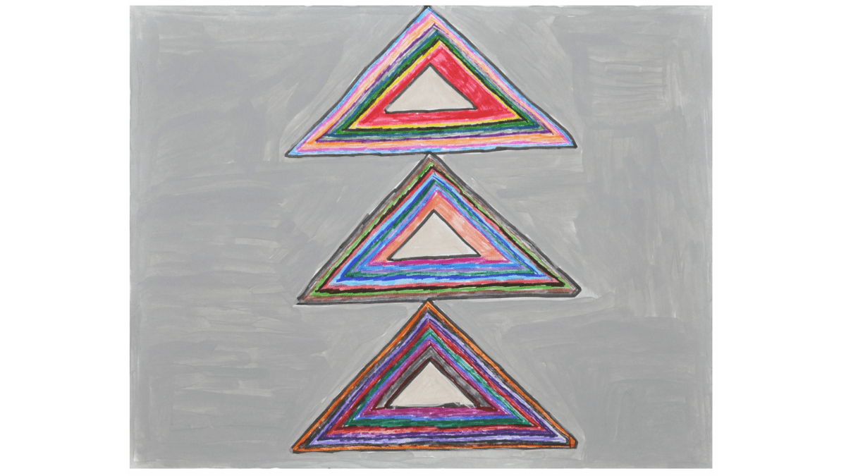 Three triangles are stacked on a background painted gray. These three triangles contain multiple other triangles, with bands of color and a blue or black border defining each triangle.