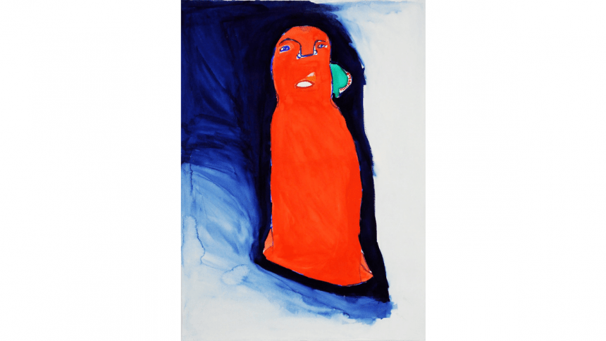 an inky blue wash dilutes to a pale blue, shrouding a brilliantly red figure that gazes intensely at the viewer. The face of the figure is the same red as the body, which has no visible characteristics. Two blue eyes, a blue nose, an open red oval for a mouth. A bluish-green half-circle shape crowned with red dots is attached to the figure's cheek.
