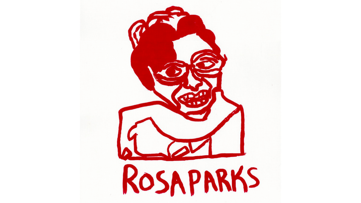 """A screenprint portrait by NIAD studio artist Raven Harper in red ink of a female figure from the shoulders up. The words at the bottom of the print read """"Rosa Parks""""."""