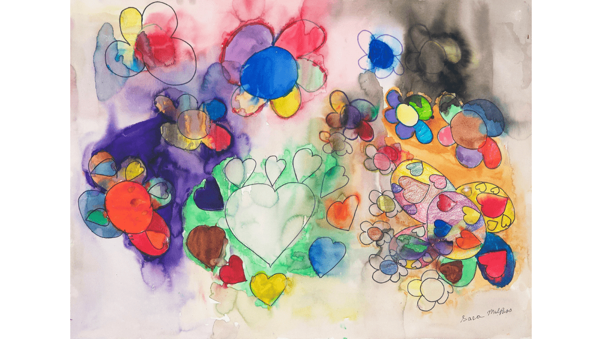 An ink drawing of floating hearts surrounded by smaller hearts, large floating flowers with hearts on the petals, flowers surrounded by flowers, all shapes filled with thin washes of color, blotched here and there. Some are colored with pencil. The colors are varied and bright. The artist's signature is in the bottom right corner.