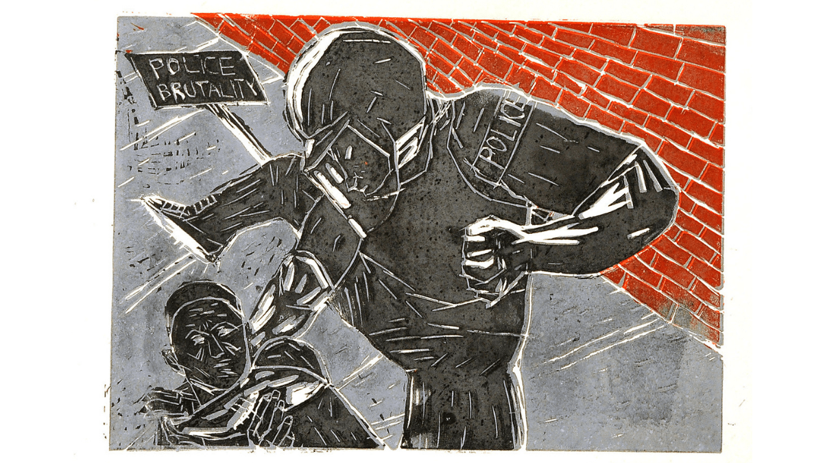 """A print of a person wearing a helmet an an armband that reads """"police"""" about to bring their foot down on the face of a person lying on the sidewalk. A protest sign that reads """"POLICE BRUTALITY"""" lies nearby, next to a vivid red brick wall."""